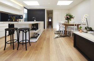 A modern kitchen and dining room